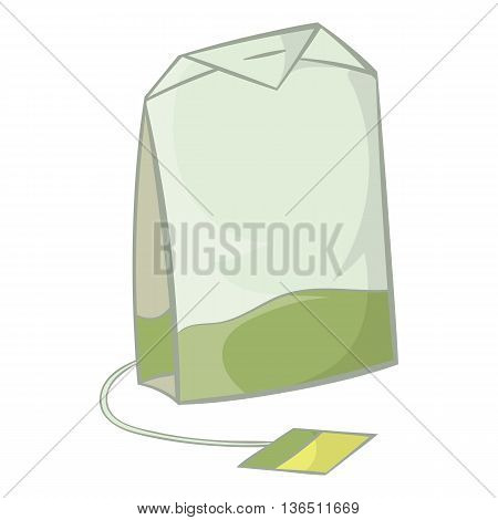 Teabag of green tea icon in cartoon style on a white background