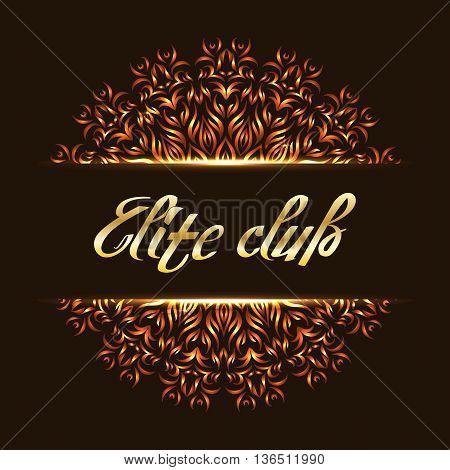 Elite club logo mandala. Design logotype template vip royal classic. Vector illustration