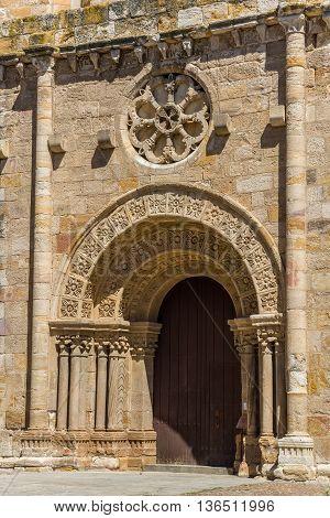Principal facade of Church of San Juan Bautista in mayor square of Zamora Castilla y Leon. Spain.