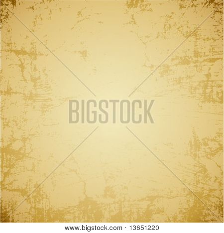 Old yellow paper background with scratches. Vector