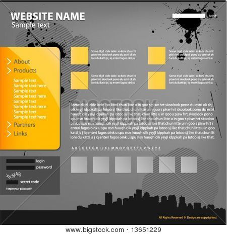 Web site design template, vector.