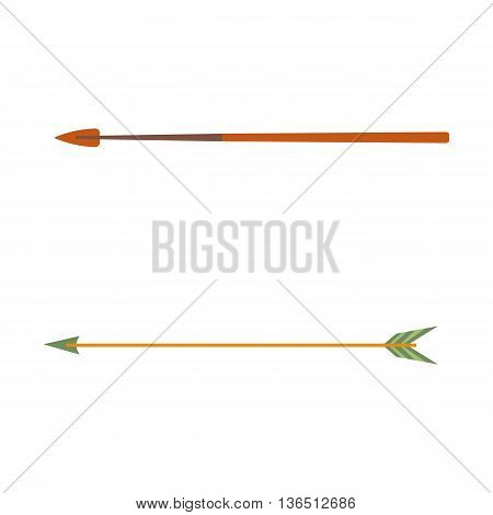 Hunting ammunition. Cartoon arrow icon, vector illustration