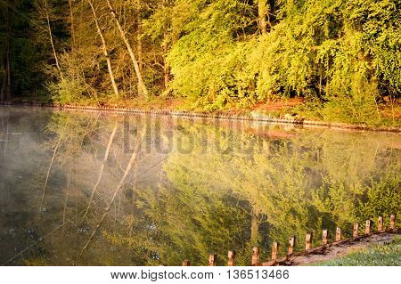 Early morning sunlight and reflections on a tranquil lake with the trees along the bank reflected in the still water