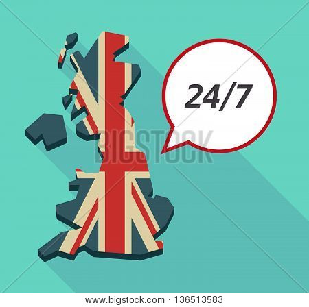 Long Shadow United Kingdom Map With    The Text 24/7
