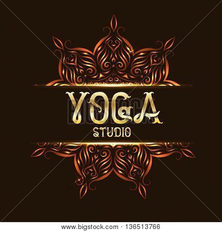 Youga studio emblem logo with mandala. Template element flower for yoga logotype. Vector illustration