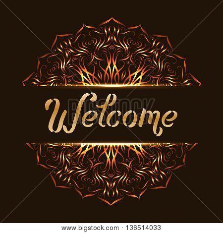 Welcome with mandala design. Indian emblem hospitality ethnic, vector illustration