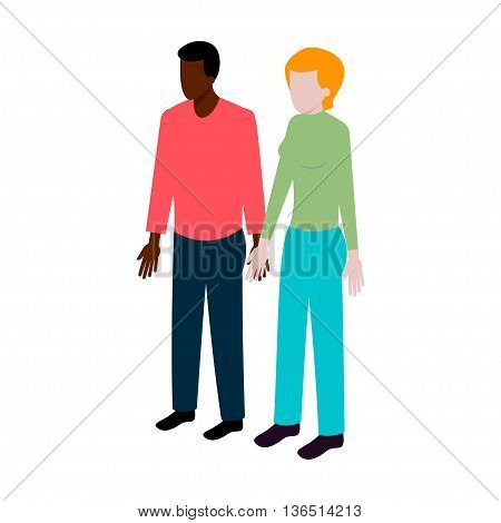 flat Isometric international couple sign. International family icon vector illustration. Black man and white woman