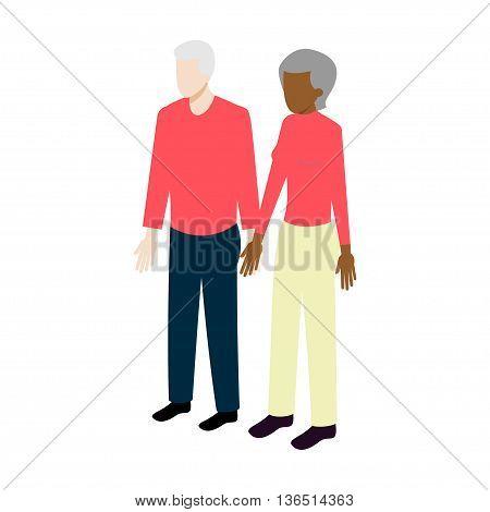 Flat Isometric internationalold couple sign. Aged family vector icon