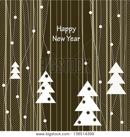 Cover design for greeting card.White Christmas Trees on the striped background.