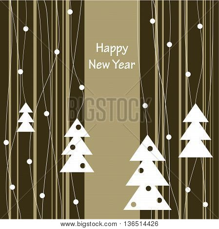 Cover design with the white Christmas Trees with toys and the phrase 'Happy New Year' on the striped background.