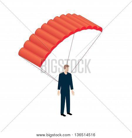 Flat Isometric Parachutist icon. Parachutism vector sifn