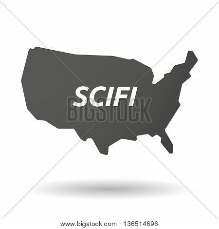 Isolated Usa Map Icon With    The Text Scifi