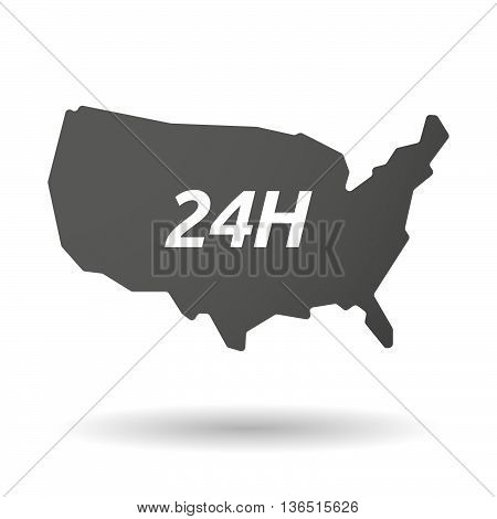 Isolated Usa Map Icon With    The Text 24H
