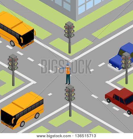 Traffic road traffic controller. Control transportation on street, cop pointsman, vector illustration