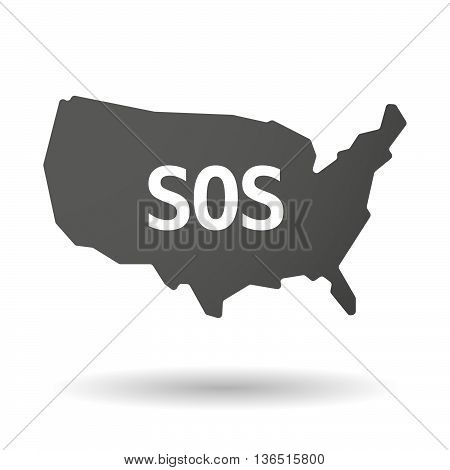 Isolated Usa Map Icon With    The Text Sos