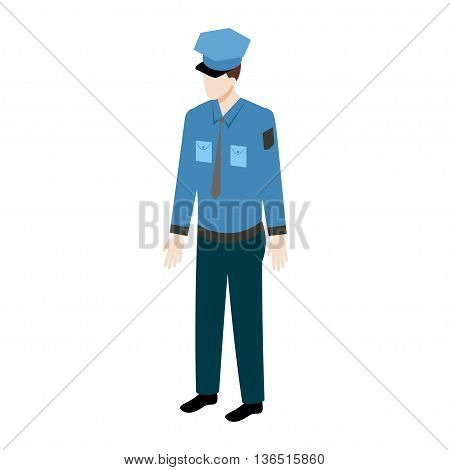 Isometric policeman icon. Police officer vector illustration full view