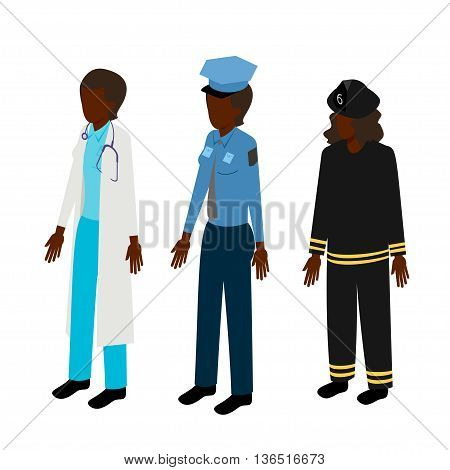 Set of isometric woman rescuers. Black doctor, fireman and policeman vector illustration