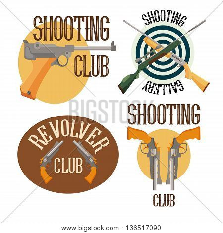 Set of logo shooting club. Label and badge emblem with weapon, vector illustration