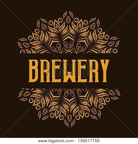 Traditional brewery logo with mandala. Alcohol beverage emblem, vector illustration