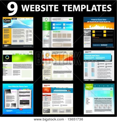 Nine website templates. First set.