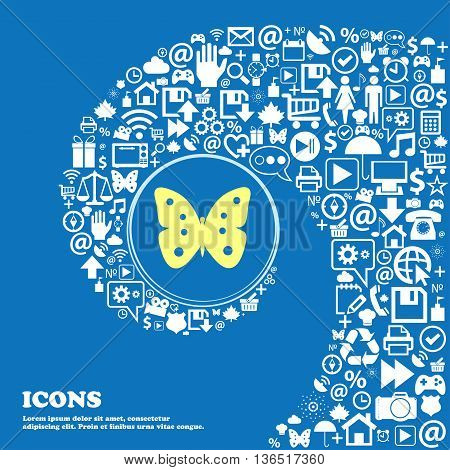 Butterfly Sign Icon. Insect Symbol . Nice Set Of Beautiful Icons Twisted Spiral Into The Center Of O