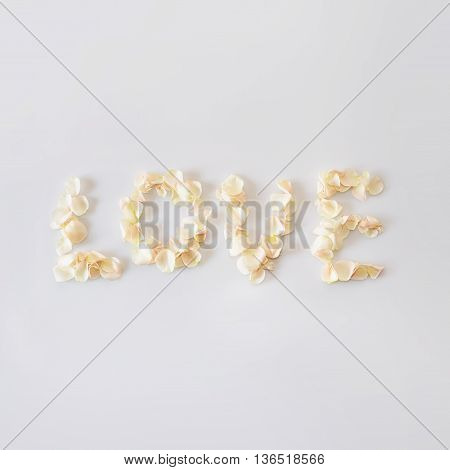 Word love made of white rose petals. Caption word love inscription from the petals of roses. Wedding love and romantic theme