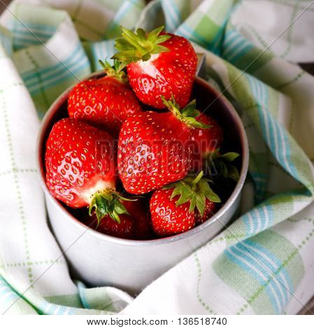 Aluminum Cup Full Of Red Strawberries