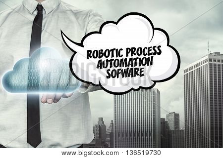 Technology text on cloud computing theme with businessman on cityscape background
