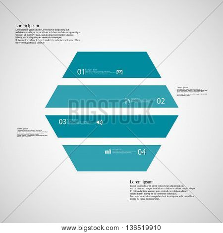 Hexagonal Infographic Template Consists Of Four Blue Parts On Light Background