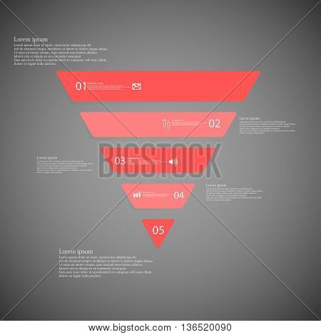 Triangle Infographic Template Consists Of Five Red Parts On Dark Background