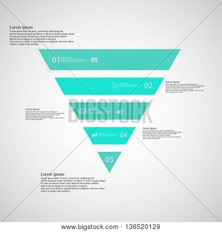 Triangle Infographic Template Consists Of Five Blue Parts On Light Background