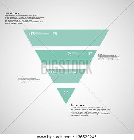 Triangle Infographic Template Consists Of Four Blue Parts On Light Background