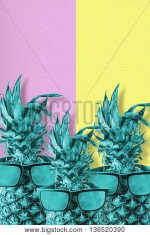 Color Pineapple Fruit With Sunglasses Summer Art