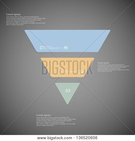 Triangle Infographic Template Consists Of Three Color Parts On Dark Background
