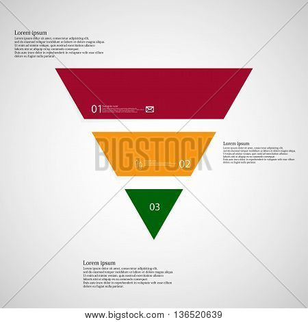 Triangle Infographic Template Consists Of Three Color Parts On Light Background