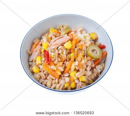 Spelt Salad With Tunna Carrots Peppers Corns And Olives
