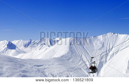 Panoramic View On Ropeway At Ski Resort