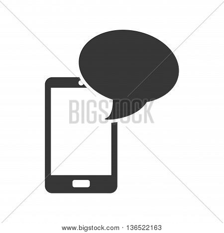 Mobile concept represented by cellphone with bubble  icon. isolated and flat illustration