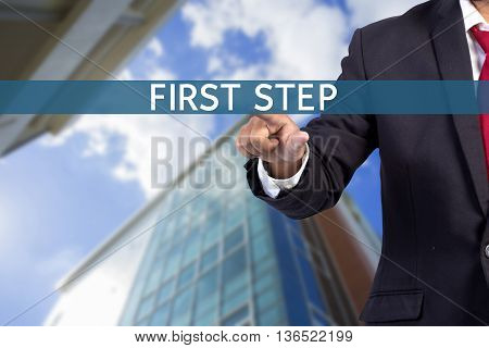 Businessman Hand Touching First Step Tab On Virtual Screen