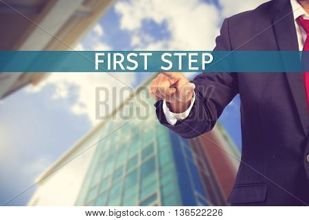 Businessman Hand Touching First Step Tab On Virtual Screen Vintage Color