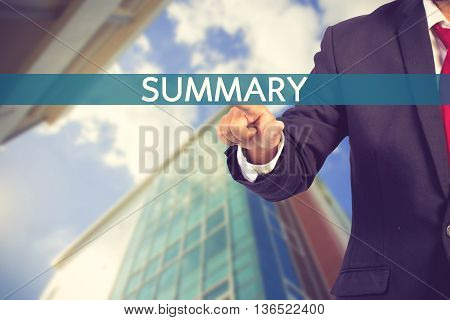 Businessman Hand Touching Summary Sign On Virtual Screen Vintage Color