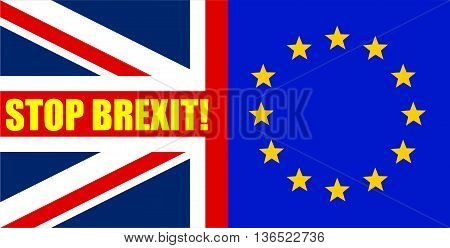 Flags of United Kingdom and European Union are joined for the Brexit Referendum / Brexit Concept / Message