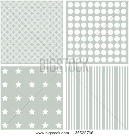 Vector set of 4 background patterns in pale grey.