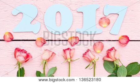 light blue 2017 and bright roses on pink wood background