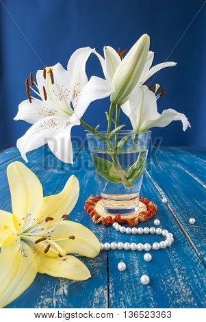 beautiful lily flower on a blue background with white beads