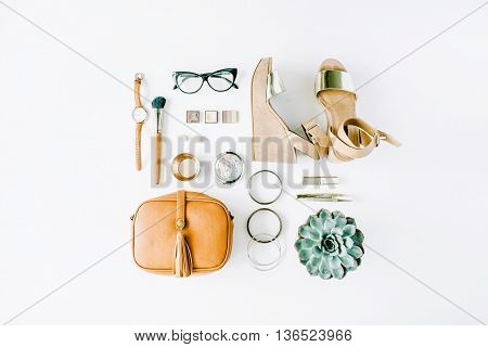 flat lay feminini accessories collage with purse watch glasses bracelet lipstick sandals mascara brushes on white background.