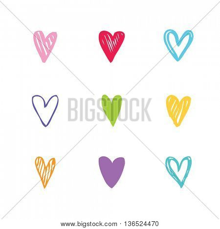 Set of unique hearts