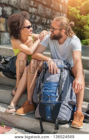 The romantic couple relaxing in the street