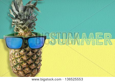 Pineapple Wearing Sunglasses On Summer Background
