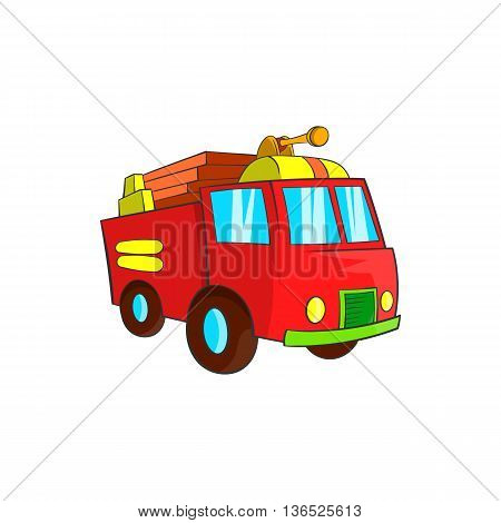 Fire truck icon in cartoon style isolated on white background. Transport symbol